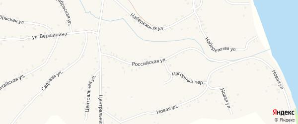 Российская улица на карте села Калистратихи с номерами домов