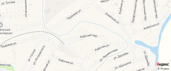 Рабочий переулок на карте поселка Тальменки с номерами домов