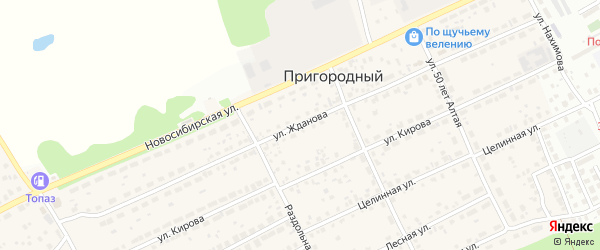 Улица Жданова на карте Пригородного поселка с номерами домов