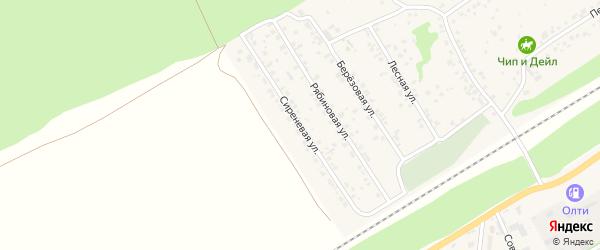 Сиреневая улица на карте поселка Ягодного с номерами домов