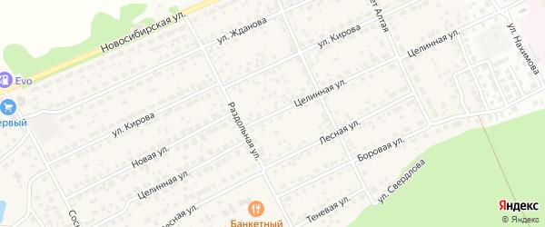 Целинная улица на карте Пригородного поселка с номерами домов