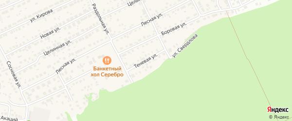Теневая улица на карте Пригородного поселка с номерами домов