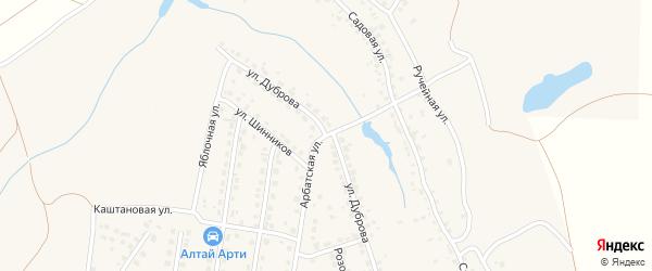 Улица Дуброва на карте поселка Казенной Заимки с номерами домов