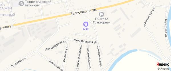 Мехзаводской переулок на карте поселка Тальменки с номерами домов