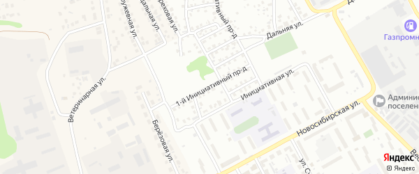Инициативный 1-й проезд на карте Барнаула с номерами домов