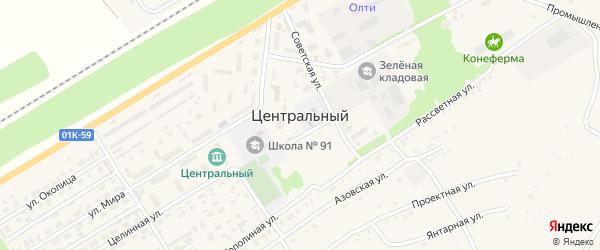 Победный переулок на карте Центрального поселка с номерами домов