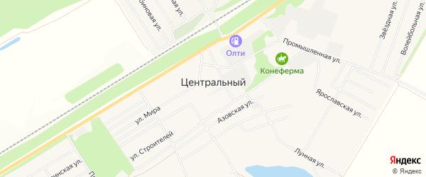 Карта Центрального поселка города Барнаула в Алтайском крае с улицами и номерами домов