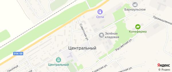 Советская улица на карте Центрального поселка с номерами домов