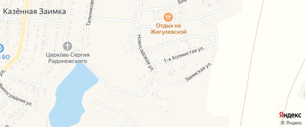 Новосадовая улица на карте поселка Казенной Заимки с номерами домов