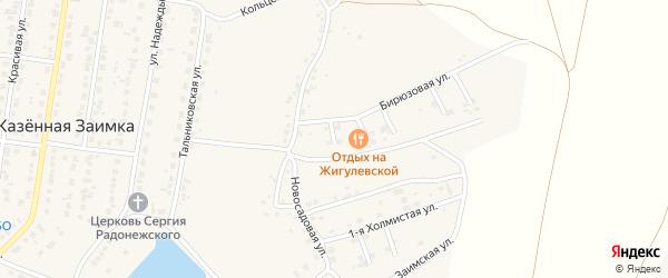 Тенистый 1-й переулок на карте поселка Казенной Заимки с номерами домов
