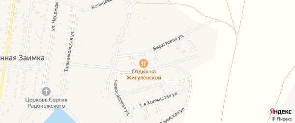 Счастливый 2-й переулок на карте поселка Казенной Заимки с номерами домов