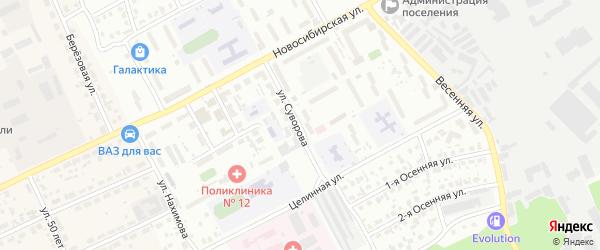Улица Суворова на карте Барнаула с номерами домов