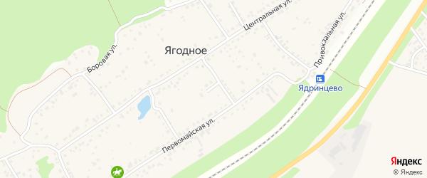 Школьный переулок на карте поселка Ягодного с номерами домов