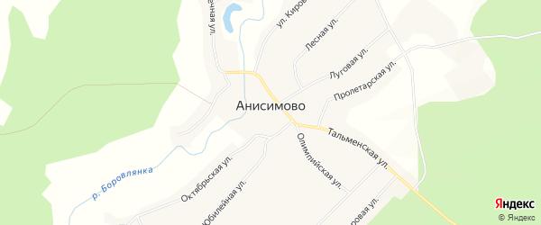 Карта села Анисимово в Алтайском крае с улицами и номерами домов