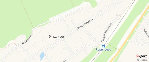 Центральная улица на карте поселка Ягодного с номерами домов