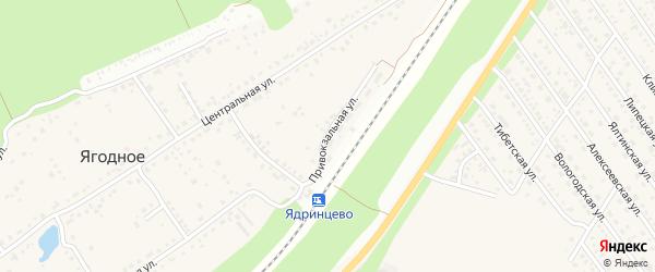 Привокзальная улица на карте поселка Ягодного с номерами домов