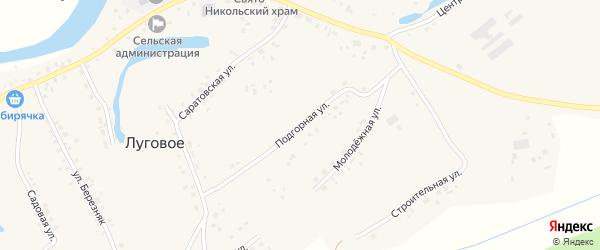 Подгорная улица на карте Лугового села с номерами домов