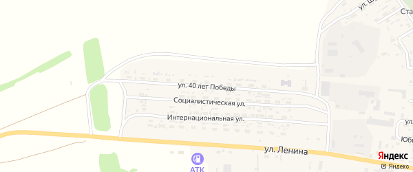 Улица 40 лет Победы на карте села Усть-Чарышской Пристани с номерами домов