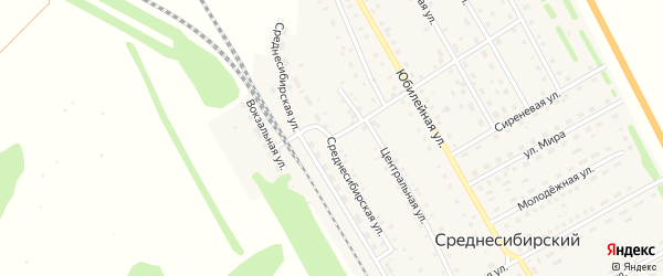 Среднесибирская улица на карте Среднесибирского поселка с номерами домов