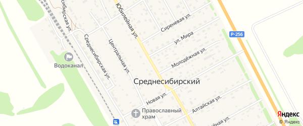 Юбилейная улица на карте Среднесибирского поселка с номерами домов