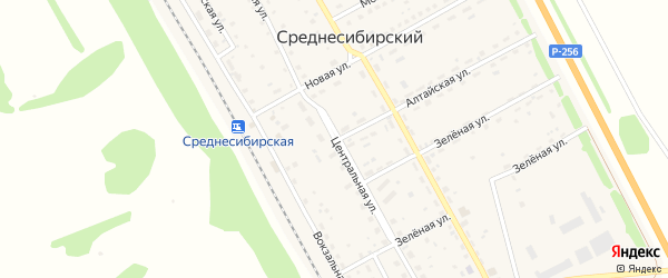 Центральная улица на карте Среднесибирского поселка с номерами домов