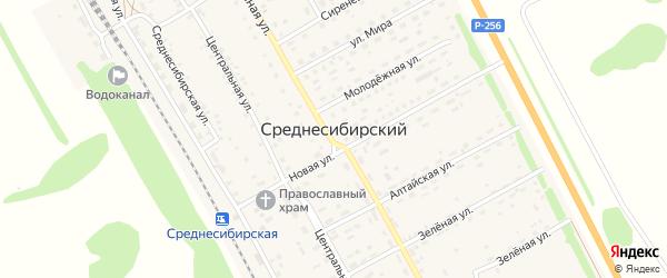 Дорожная улица на карте Среднесибирского поселка с номерами домов