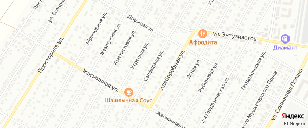Сапфирная улица на карте Барнаула с номерами домов