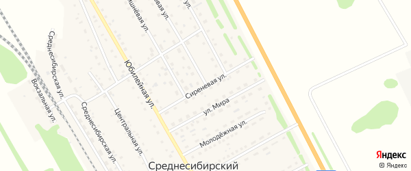 Сиреневая улица на карте Среднесибирского поселка с номерами домов