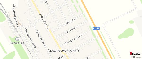Улица Мира на карте Среднесибирского поселка с номерами домов
