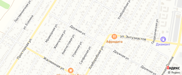 Дружная улица на карте садового некоммерческого товарищества Сельского строителя с номерами домов