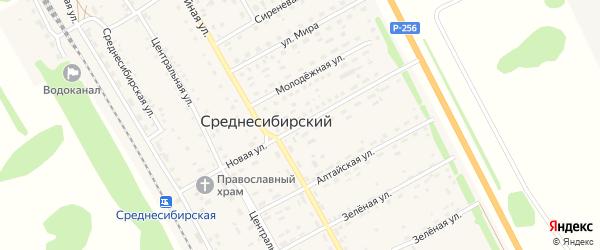 Новая улица на карте Среднесибирского поселка с номерами домов