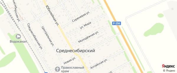 Молодежная улица на карте Среднесибирского поселка с номерами домов