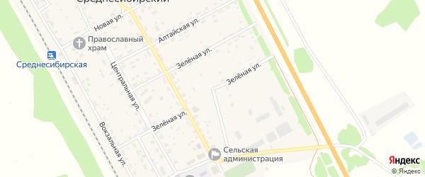 Зеленая улица на карте Среднесибирского поселка с номерами домов