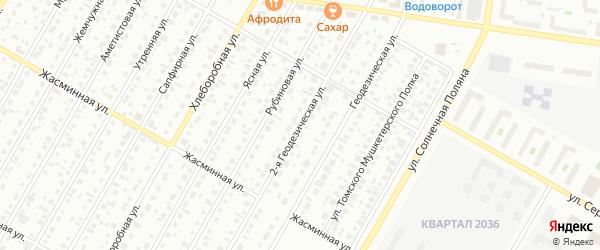 Геодезическая 2-я улица на карте Барнаула с номерами домов