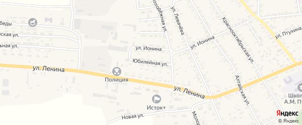 Юбилейная улица на карте села Усть-Чарышской Пристани с номерами домов