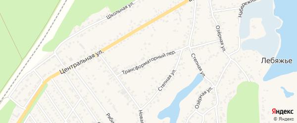 Трансформаторный переулок на карте села Лебяжьего с номерами домов