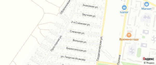 Снежная улица на карте Барнаула с номерами домов