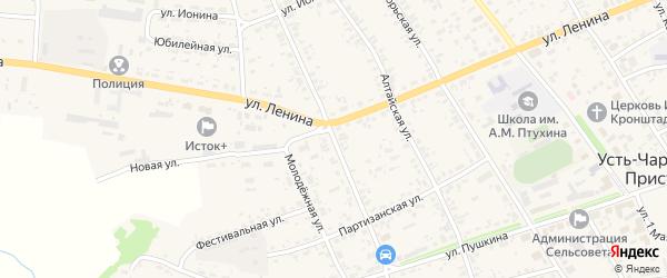 Улица Левачева на карте села Усть-Чарышской Пристани с номерами домов