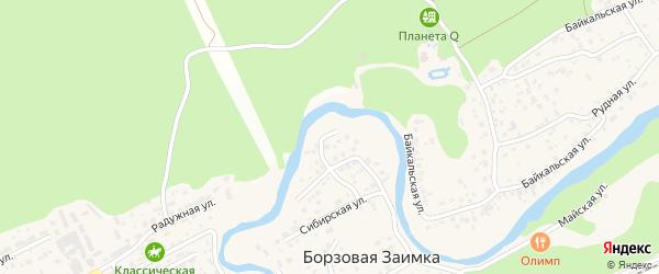 Проходной переулок на карте поселка Борзовой Заимки с номерами домов