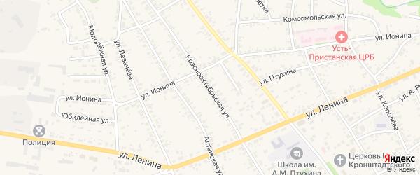 Краснооктябрьская улица на карте села Усть-Чарышской Пристани с номерами домов