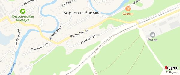 Майская улица на карте поселка Борзовой Заимки с номерами домов