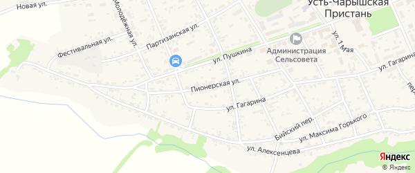 Пионерская улица на карте села Усть-Чарышской Пристани с номерами домов