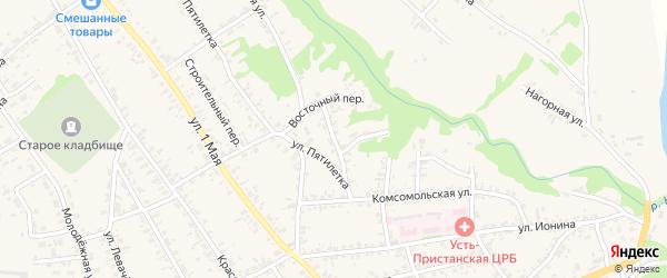 Спортивный переулок на карте села Усть-Чарышской Пристани с номерами домов
