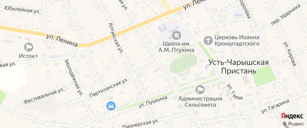 Партизанская улица на карте села Усть-Чарышской Пристани с номерами домов
