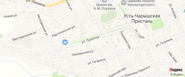 Улица Пушкина на карте села Усть-Чарышской Пристани с номерами домов