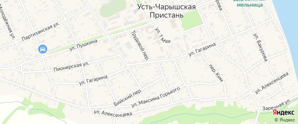 Трудовой переулок на карте села Усть-Чарышской Пристани с номерами домов