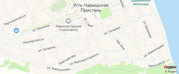 Улица Гагарина на карте села Усть-Чарышской Пристани с номерами домов