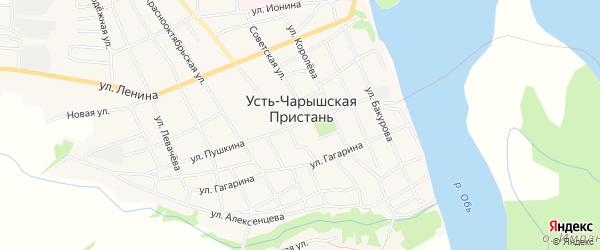 Карта села Усть-Чарышской Пристани в Алтайском крае с улицами и номерами домов