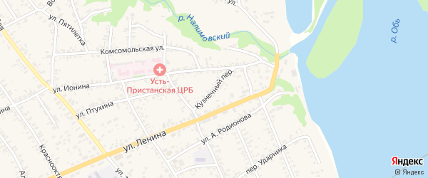 Кузнечный переулок на карте села Усть-Чарышской Пристани с номерами домов