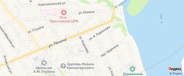 Улица А.Родионова на карте села Усть-Чарышской Пристани с номерами домов